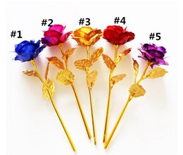 Chinese  24k Gold Foil Plated Rose Gold rose Wedding Decoration Golden Rose Decor Flower flores artificiales para decoracion manufacturers