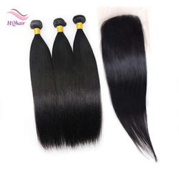 7A paquetes de cabello humano indio con cierre recto del pelo humano armadura con cierre de encaje Blenched Knots libre medio de tres partes de cierre de encaje en venta