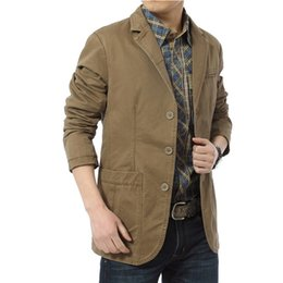 Blazers Jacket Pas Cher-Gros-2016 Autumn Fashion Blazer Hommes Haute Qualité Simple Breasted Suit Casual Jacket Men Cotton Leisure convient Plus Size M-4XL