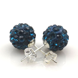 Peacock Studs UK - 10mm Peacock Disco Balls Rhinestone Earring Studs Silver Plated For Christmas Gift 20 Pairs Wholesale Drop Shipping