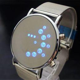 New iroN maN watch online shopping - Fashion Cool Men Clock Watch Iron Man Blue LED Watches Luxury Stainless Steel Binary Bracelets Bangles Wristwatch gift