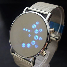 Wholesale Fashion Cool Men Clock Watch Iron Man Blue LED Watches Luxury Stainless Steel Binary Bracelets Bangles Wristwatch gift