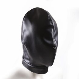 Full Face leather sex mask online shopping - High quality leather bondage hood full mask fetish face mask cap sex toys sex slave game for adults bondage device