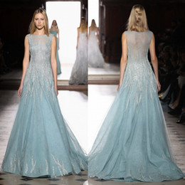 Robes De Quartier De Tony Pas Cher-Tony Ward 2017 Robes Robes de bal de luxe Perles dentelle sans manches robe de soirée balayage train Jewel Neck Tulle Party