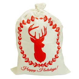 $enCountryForm.capitalKeyWord Canada - 5pcs Christmas Gift Bag 3 styles Red Drawstring Canvas Santa Sack Rustic Vintage Christmas Stocking Bags Decoration
