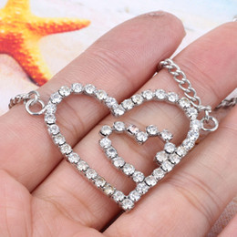 ee2dad2218b Double Heart Rhinestone Belly Chain and Lower Back women fashion waist  chain body jewelry Girl Beach jewelry