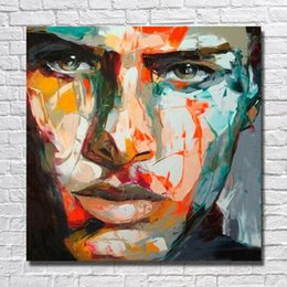 Painting Faces NZ - Handsome Modern Wall Painting Man Face Oil Painting Wall Decor Hand Painted Painting on Canvas No Framed