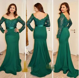 Barato Escuro Verde Sereia Vestidos De Noite-Fantastic Dark Green Lace Mermaid Evening Dresses 2017 Off-the-shoulder Neck Long Sleeve Prom Dress Vestidos Cheap Formal Dresses Evening Wear