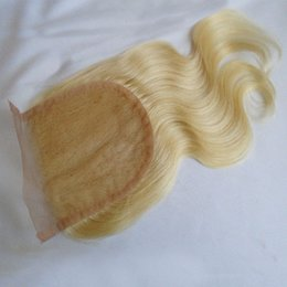 $enCountryForm.capitalKeyWord NZ - 4*4 Blonde Body Wave Lace Closure Brazilian Peruvian Indian Malaysian Virgin Human Hair 613 Pure Color Free Middle 3 Way Part Bleached Knots