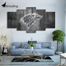 HD Printed 5 Piece Canvas Art Winter Game Of Thrones Wolf Painting Wall Pictures For Living Room Modern Free Shipping CU 2004B