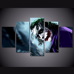 Canvas Prints Free Shipping Australia - 5 Pcs Set Framed Printed Joker pictures Painting Canvas Print room decor print poster picture canvas Free shipping ny-4576