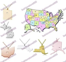 $enCountryForm.capitalKeyWord Australia - DHL Free America 50 State Map Pendant Necklaces With Heart DIY Stainless Steel Jewelry Alaska State New York State
