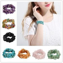 $enCountryForm.capitalKeyWord Canada - Mixed 7 Colour Elastic Natural Stone Bracelet Multilayers Fluorite Gems turquoise amethyst Crystal Stone Bead Bracelet for women NTRSH001-E