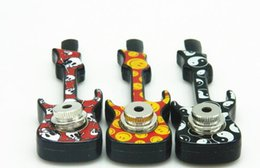 $enCountryForm.capitalKeyWord NZ - Violin Guitar Shaped Smoking Metal Pipe Jamaica Reggae Hand Tobacco Cigarette Pipes With Cover Mesh Accessories multiple color