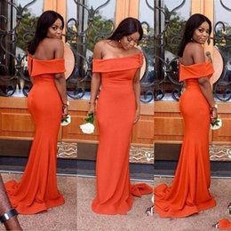 Barato Vestidos De Noite Cor Laranja-Sexy Off Shoulder Prom Dresses For Black Girls Orange Color 2018 Long Evening Gowns South African Formal Party Dress