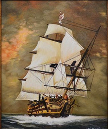 "Oils Art Canada - Framed OLD SAILING WARSHIP IN THE EVENING SEA"" HAND PAINTED SEASCAPE,Pure Hand-painted Art oil painting On Canvas Multi sizes Available"