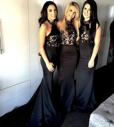 Black Mermaid Style Wedding Gowns NZ - Mermaid Style Bridesmaid Dresses Black Lace Appliques 2016 Halter Neck Long Satin Wedding Party Gowns Elegant Prom Dress