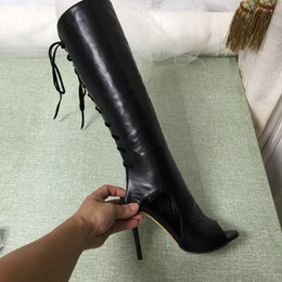 Peep Toe Knee Boots Canada - 2016 Real Black Women Boots Lace Up Soft Leather Peep Toe Knee Boots Peep Toe Ladies Party Shoes Sexy High Thin Heels Ladies