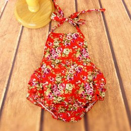 Barato Red Girls Coreia-Everweekend Baby Girls Red Floral Ruffles Rompers Vintage Coréia Lovely Children Clothing Westeren Fashion Summer Clothes