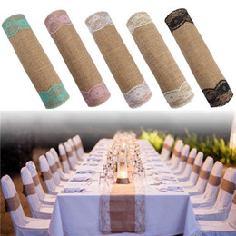 30270cm vintage burlap table runner jute lace table cloth for wedding decoration event party supplies rustic wedding decor free shipping discount rustic - Discount Table Linens