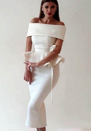 Tea Party Dresses White Canada - White Satin Mermaid Prom Dresses For Hot Sale Arabic Dubai 2016 Women Off Shoulder Tea Length Back Slit Evening Occasion Gowns Party Wears