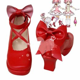 Puella Magica Madoka Cosplay Hot Pas Cher-vente en gros-spéciale New Hot Anime Puella Magi Madoka Magica Rouge Cosplay Bottes Chaussures personnalisées