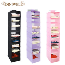Clothes Storage Closet Organizers Canada - Wholesale- DINIWELL 9 Cell Hanging Box Underwear Sorting Clothing Shoe Jean Storage Mails Door Wall Closet Organizer Closet Organizador Bag