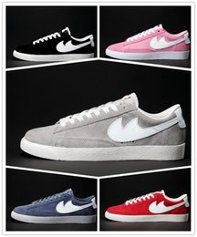 Blazers Azules Para Mujer Baratos-Blazer Low VNTG Summer 12 Collection Zapatillas running para mujer Blazer Low Low VNTG Neptune Blue Red Black Grey Pink Sneakers Talla 36-44
