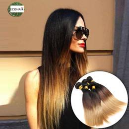 Straight Hair Weave Styles Canada - Eco Ombre Indian Hair 3 Tone Indian Virgin Hair Straight 5 Bundles Remy Silky Flat Tip Straight Human Hair Peerless Style
