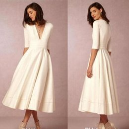 Discount deep v neck pastel dress - Deep V Neck 2017 New BHLDN Beach Wedding Dresses Half Sleeves A Line Tea Length Satin Party Gowns Cheap Bridal Dresses