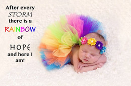 wholesale tutus Australia - Baby Infants Tutu Skirts Hundred Day Rainbow Ball Gown Tulle Skorts With Headband 2pcs Sets Baby Photography Props Costumes Adorable 9566