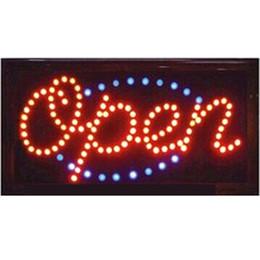 2016 vente directe led signe néon ouvert 10X19 pouce semi-extérieur clignotant personnalisé led signes ouverts En Gros