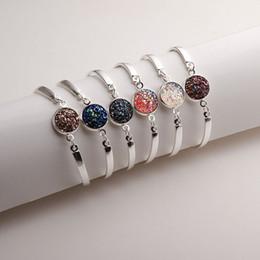 Wholesale Druzy Bracelet Canada - Stainless Steel Druzy Stone Settled Bracelet Bangle Wristband Bangles Bracelets Fashion Jewelry