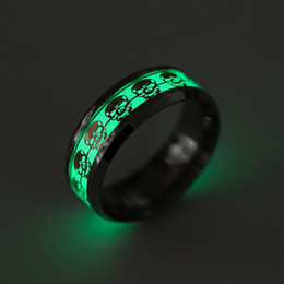 ring light fluorescent wholesale UK - Stainless steel Ring Glow In The Dark The Punisher Skull Ring Fluorescent Light Finger Rings Gold Silver Pattern Rings Drop Shipping