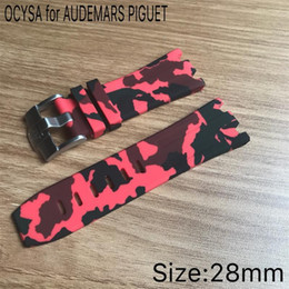 Pin hooks online shopping - Luxury watch camouflage Rubber Silicone Waterproof strap with stainless steel pin buckle fit for AP watch