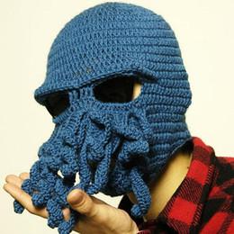 Funny Beanies Hats Canada - Novelty Cool Handmade Knitting Wool Funny  Animal Cthulu Beard Octopus Hats 3e7131f358d