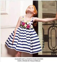 Jolies Robes Pour Enfants Pas Cher-2016 filles fleur rayée Robe enfants Vêtements Filles Mode Jolie manches princesse robe de soirée Flower Girls Dress KB225