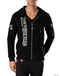Barato Jaquetas De Couro Dos Homens Hoodies-2017 Hot Sell Men's Jacket Comprimento Sleeve Hoodies Sweatshirts Imprimir Skull Hoody Hooded Mens Zipper Leather Outwear 6181