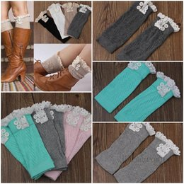 Wholesale Women Crochet Knit With Button Leg Warmers Lace Trim Cuffs Boot Socks Hollow Colors Fashion Boot Socks DDA003