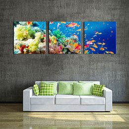 Canvas Art Blue Wall Painting The Bottom Of Sea Scenery Colorful And Different Fishs Coral Print On Picture Animal
