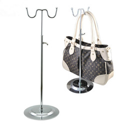 bag stand display rack 2018 - Free Shipping 2PCS wig Metal Adjustable Double-HOOK Bags Handbag Display Stand Rack holder Women and man discount bag st