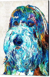 $enCountryForm.capitalKeyWord Canada - Giclee colorful bearded collie art 2 dog portrait by sharon cummings sharon cummings oil painting arts and canvas wall decoration