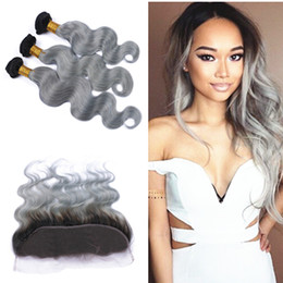 7a hair bundles closure 2019 - Ombre 1B Grey Lace Frontal Closure With Bundles Body Wave 7A Brazilian Ombre Grey Hair Bundles with 13*4 Lace Frontal Cl