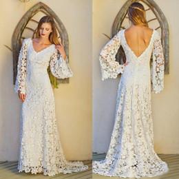 bohemian style lace wedding dresses 2016 long sleeves v neck sexy backless summer beach bridal gowns custom made boho bridal wedding dress