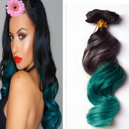 teal ombre hair NZ - Colorful 1B Green Ombre Hair Extensions,3 Bundles Black And Green Teal Ombre Peruvian Two Tone Hair Loose Wave Human Hair Weaves