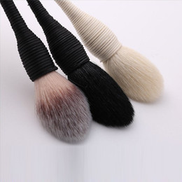 black powder NZ - 20Sets Good Quality Brush Goat Synthetic Hair Powder Blush Foundation makeup brushes Black Gray 3 Options Christmas sale