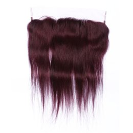 brazilian lace frontals UK - New Arrival #99J Burgundy Lace Frontal Closure 13*4 Glueless Straight Brazilian Wine Red Human Hair Ear to Ear Full Lace Frontals