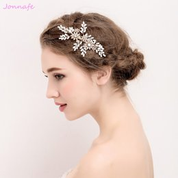 Wedding accessories hair pieces online shopping - beijia Beaded Wedding Gold Hair Comb Clip Bridal Hair Piece Accessories Handmade Women Jewelry G545