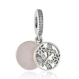 Authentic Flowers Australia - Flowers Charm Pendants Authentic 925 Sterling Silver Jewelry Dangle Pink Enamel Butterfly Beads For DIY Brand Bracelets Making Accessories