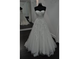 $enCountryForm.capitalKeyWord UK - 100% Real Sample A Line Sweetheart Ruching Bodice Floral Lace Appliques Beaded Tulle Customer Order Bridal Gown Wedding Dresses